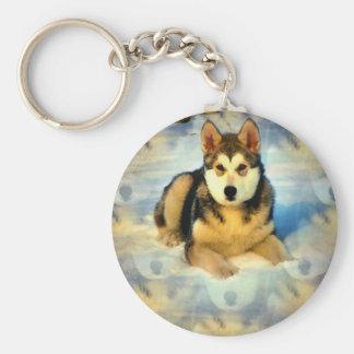 アラスカンマラミュートの子犬Keychain キーホルダー