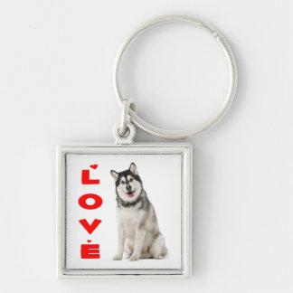 アラスカンマラミュートの灰色および黒い小犬の赤愛 キーホルダー