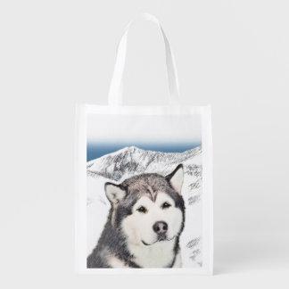 アラスカンマラミュートの絵画-かわいい元の犬の芸術 エコバッグ
