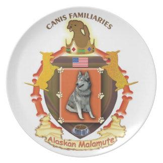 アラスカンマラミュート犬の頂上のプレート-米国の旗 プレート