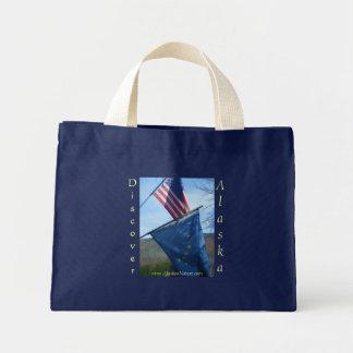 アラスカ及び米国旗 ミニトートバッグ