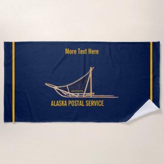 アラスカ犬のそりの郵便キャリア ビーチタオル