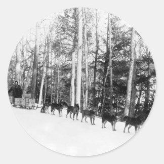 アラスカ犬のSledding ラウンドシール