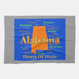 アラバマの地図のシルエットのポップアート キッチンタオル