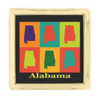 アラバマの地図のシルエットのポップアート ゴールド ラペルピン