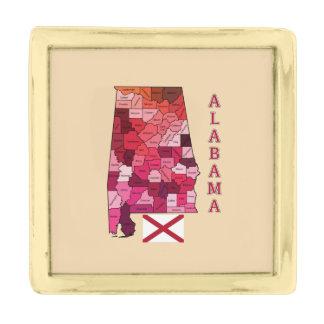 アラバマの地図の旗 金色 ラペルピン