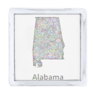 アラバマの地図 銀色 ラペルピン