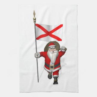 アラバマの旗との父のクリスマス キッチンタオル