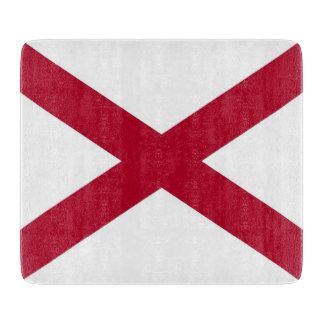 アラバマの旗を持つ小さいガラスまな板 カッティングボード