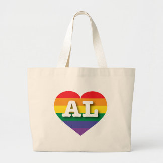 アラバマゲイプライドの虹のハート-大きい愛 ラージトートバッグ