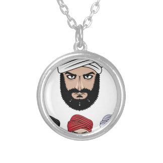 アラビアのイスラム教のベクトル シルバープレートネックレス