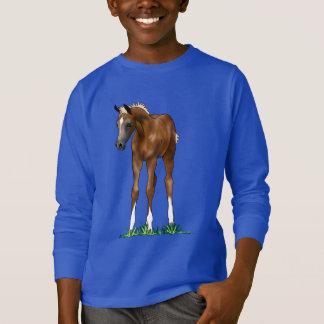 アラビアの子馬のフード付きの子供のスエットシャツ Tシャツ