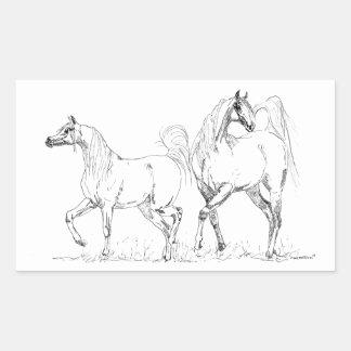 アラビアの馬のステッカー-アラビアの馬 長方形シール