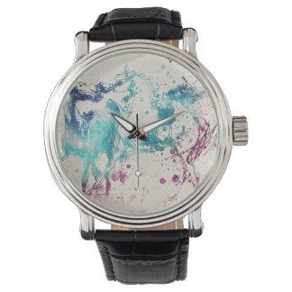アラビアの馬のデジタル水彩画の絵画 腕時計
