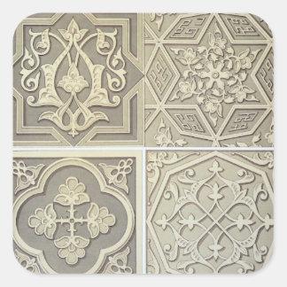 アラビアタイルは設計します(色のlitho) 正方形シール・ステッカー
