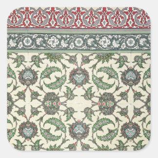 「アラビア人からのCheykhounのモスクのタイルを、囲んで下さい 正方形シールステッカー