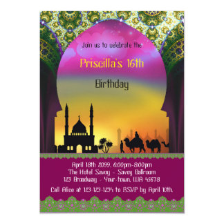 アラビアSweet sixteenの誕生日の招待、第16 カード
