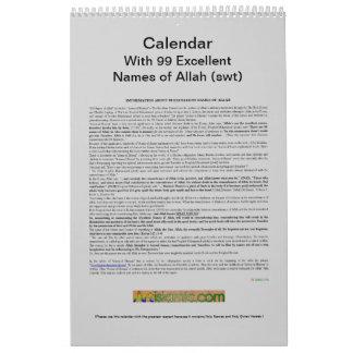 アラー(swt)の99の名前のカレンダー-神 カレンダー