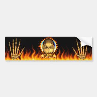 アリシアのスカルの実質火および炎のバンパーステッカー バンパーステッカー