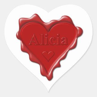 アリシア。 一流のアリシアが付いている赤いハートのワックスのシール ハートシール