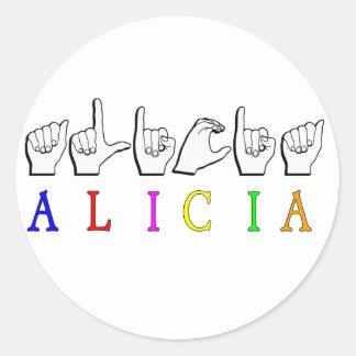 アリシアFINGERSPELLED ASLの一流の印 ラウンドシール