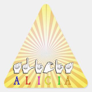 アリシアFINGERSPELLED ASLの一流の印 三角形シール