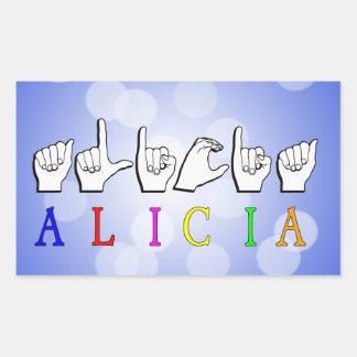 アリシアFINGERSPELLED ASLの一流の印 長方形シール