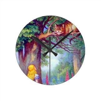 アリスおよびチェシャー猫 ラウンド壁時計
