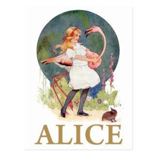 アリスおよびピンクのフラミンゴの演劇のCROQUET ポストカード