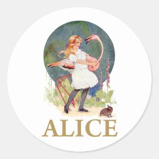 アリスおよびピンクのフラミンゴの演劇のCROQUET ラウンドシール