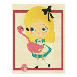 アリスおよびフラミンゴの郵便はがき ポストカード