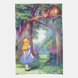 アリスおよびフルカラーチェシャー猫 お手拭タオル
