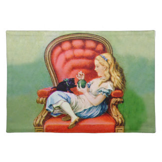 アリスおよびDinah大きく赤い椅子の猫 ランチョンマット