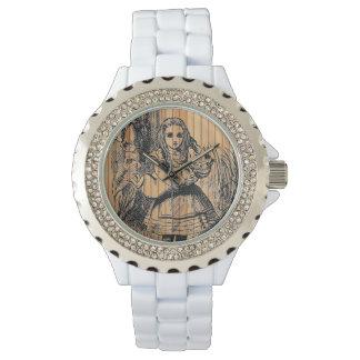 アリスの(不思議の国で)小さいブタの素朴な木製の腕時計 腕時計