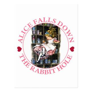 アリスはウサギの巣穴ころびます ポストカード