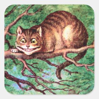 アリスは不思議の国のチェシャー猫に会います スクエアシール