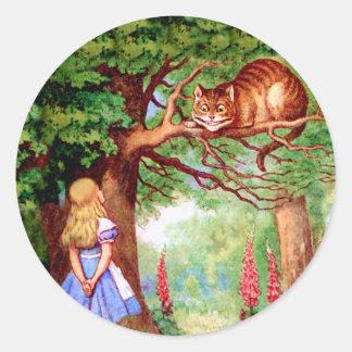 アリスは不思議の国のチェシャー猫に会います ラウンドシール
