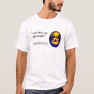 アリストテレス著真の友達。 人の白いTシャツ Tシャツ