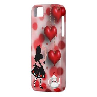 アリス及びフラミンゴのハート及びティーポット iPhone SE/5/5s ケース
