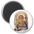 アリス女王および城のドアのカエル マグネット