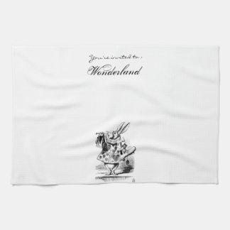 アリス白のウサギのふきん キッチンタオル