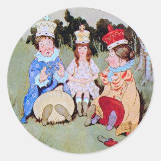 アリス白人の女王、赤い女王及び女王は昼食を共にします ラウンドシール