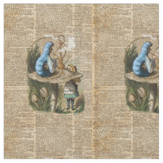 アリス、きのこおよびジンのヴィンテージ辞書の芸術 ファブリック