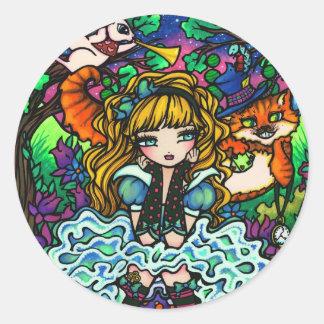"""""""アリス""""は不思議の国のチェシャー猫のアリスを失った ラウンドシール"""