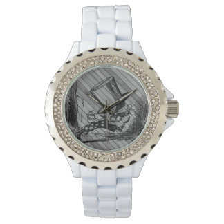 アリス(不思議の国で)帽子屋のエナメルの腕時計 腕時計