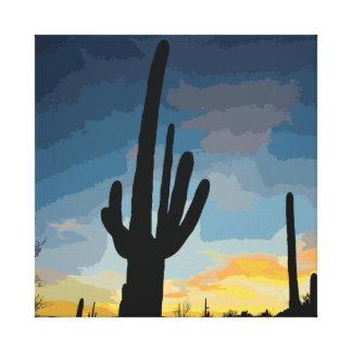 アリゾナのサグアロのサボテンの南西日没 キャンバスプリント