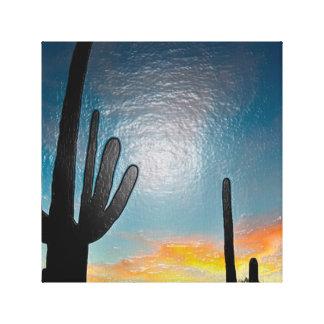 アリゾナのサグアロのサボテンの日没のプラスチック3d芸術 キャンバスプリント