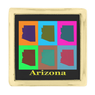 アリゾナの地図のシルエットのポップアート ゴールド ラペルピン