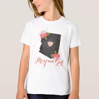 アリゾナの女の子の水彩画の花柄及び移動可能なハート Tシャツ