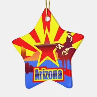 アリゾナの州の旗のヴィンテージの引くこと セラミックオーナメント